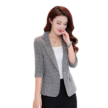 Women Suit 2019 Autumn New Casual Jacket Three Quarter Sleeved Suit Large Size Women Short Coats Spring Lattice Slim Suit FC81