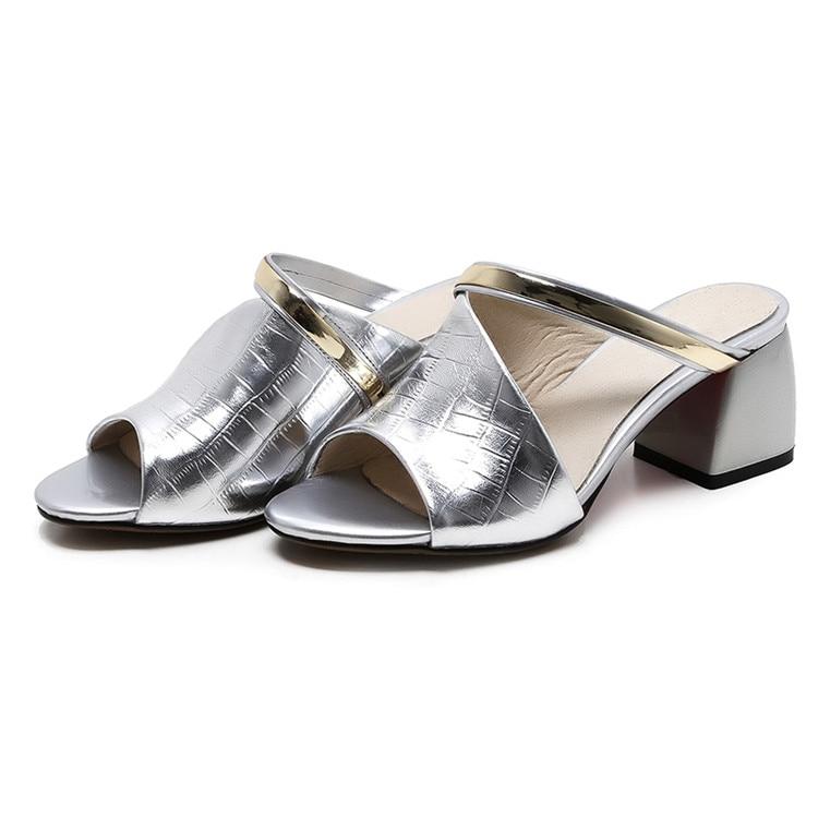 MLJUESE 2018 dames pantoffels echt leer Zwarte kleur zomer buitenkant - Damesschoenen - Foto 2