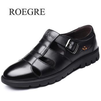 Men Sandals Genuine Leather Sandals Men Outdoor Casual Men Leather Sandals For Men Beach Shoes Roman Shoes Plus Size 38-47 1