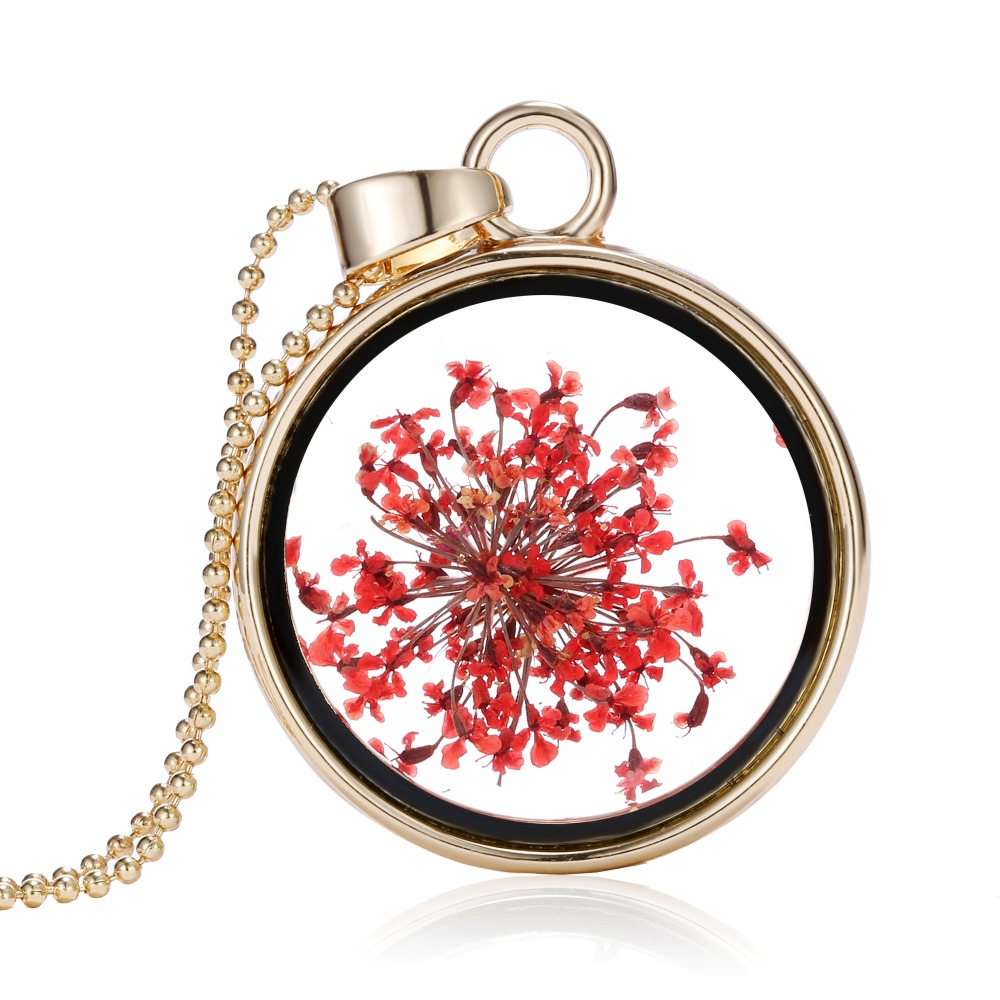Real Red Round Golden Dried Flower Necklace Women Necklace