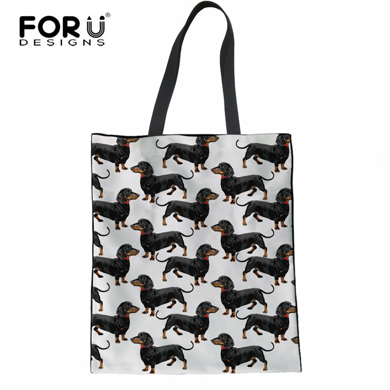 FORUDESIGNS Canvas Tote Female Single Shopping Bags Large Capacity Women Canvas Beach Bags Dachshund Dog Print Casual Tote Bag forudesigns black cat bags for women messenger bag 2018 girls handbag cheap canvas shoulder bags summer beach casual tote bags