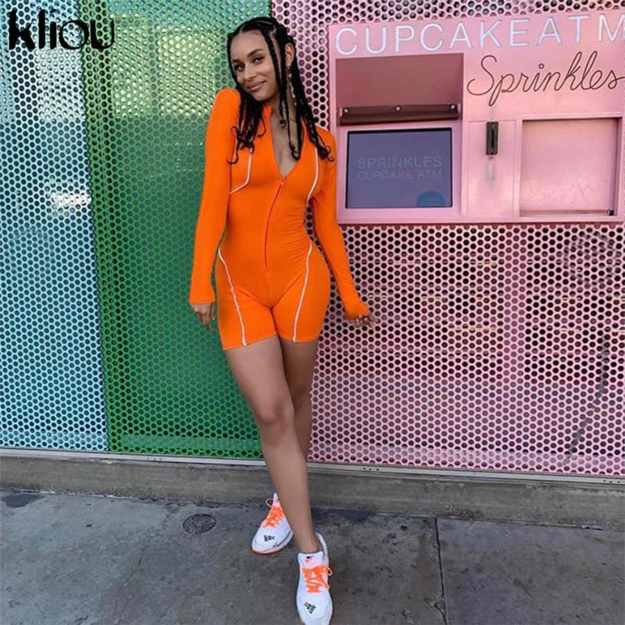 Kliou de moda de las mujeres Vestido de manga completa cremallera reflectante rayas patchwork pantalones 2019 mujeres elástico skinny body