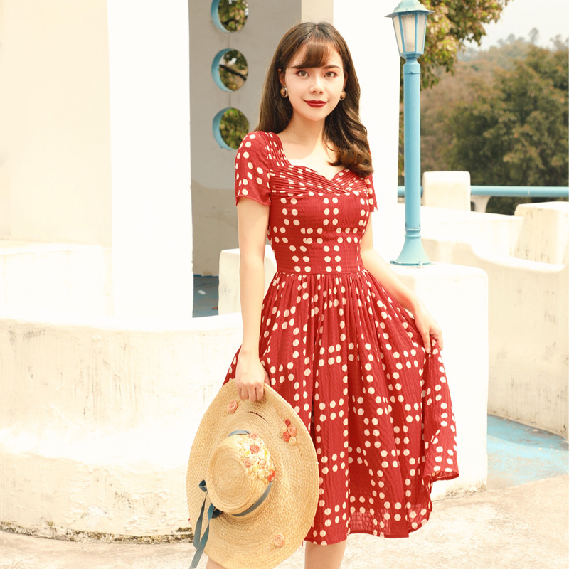 Summer Original Design Women French Vintage Cute White Dots Red Dresses french workplace design