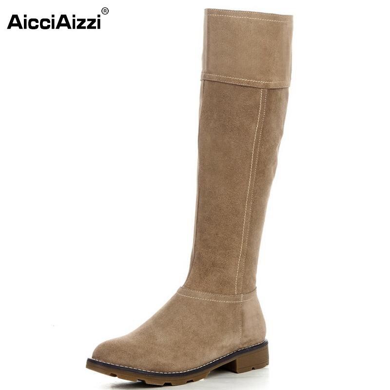 ФОТО Women Retro Boots Genuine Leather Knee Boots Casual Flat Heel Round Toe Riding Knight Botas Winter Zipper Women Shoes Size 34-39