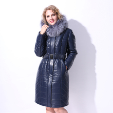 Factory direct supply 2017 new Real natural silver fox collar winter Female Polyurethane coat Parker camel hair thick Antifreeze