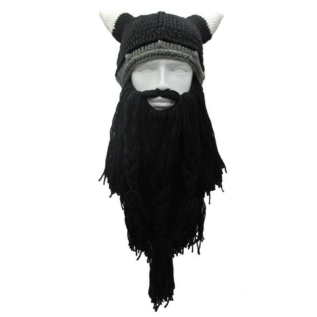 Online Shop Funny Man Vikings Beanies Knit Hats Beard Ox Horn Handmade  Knitted Men s Winter Hats Warm Caps Women Gift Party Mask Cosplay Cap  de44917cd