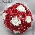 Красивые искусственные красный свадебные цветы свадебные букеты жемчуг цветок букет роз мантия-де-mariage artificiels руж