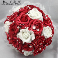 Beautiful artificial red wedding flowers bridal bouquets Pearls Flower Rose Bouquet de mariage artificiels rouge