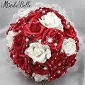 Hermosa artificial de flores rojo de la boda ramos de novia perlas Rose Bouquet robe de mariage artificiels rouge