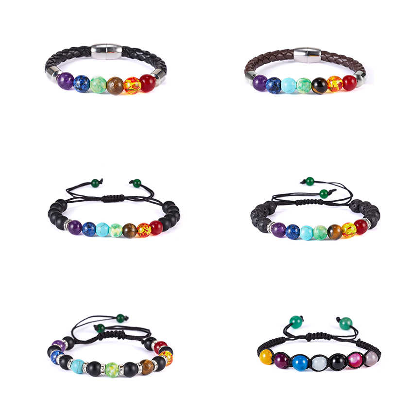 New Handmade 7 Chakra Natural Stone Braided Bracelets Vintage Charm Round Chain Beads Bracelets Jewelry Women Friend Lovers Gift