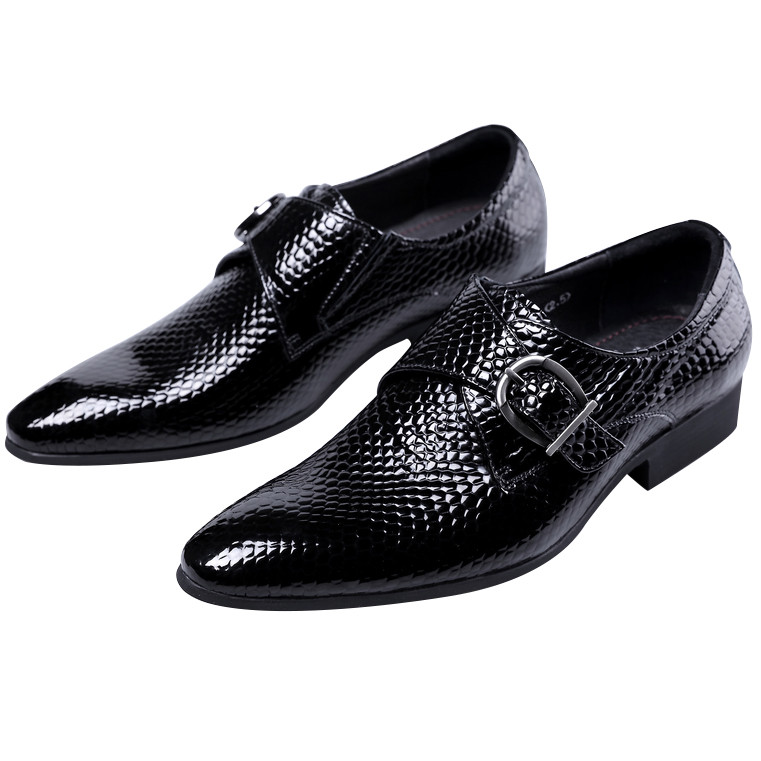 Serpentine Black Mens Dress Shoes Mens business Shoes Patent Leather Mens Formal Shoes Wedding Party Shoes With Buckle fashion luxury mens patent leather shoes genuine leather black formal men dress shoe for wedding party buckle business high heel