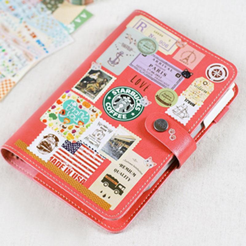 Korean Creative Loose - leaf Planner Retro Diary Business Agenda Bind Snap Notebook Portable Small Notebook Stationery Book a6 small business notebook retro style
