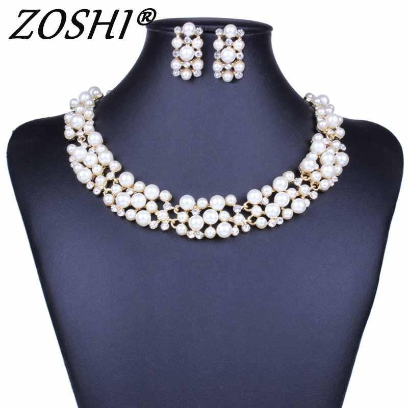 Fashion Simulated Pearl Jewelry Sets Women Wedding Bridal Crystal Jewelry Set Necklace Earrings Set Wholesale Price Gifts