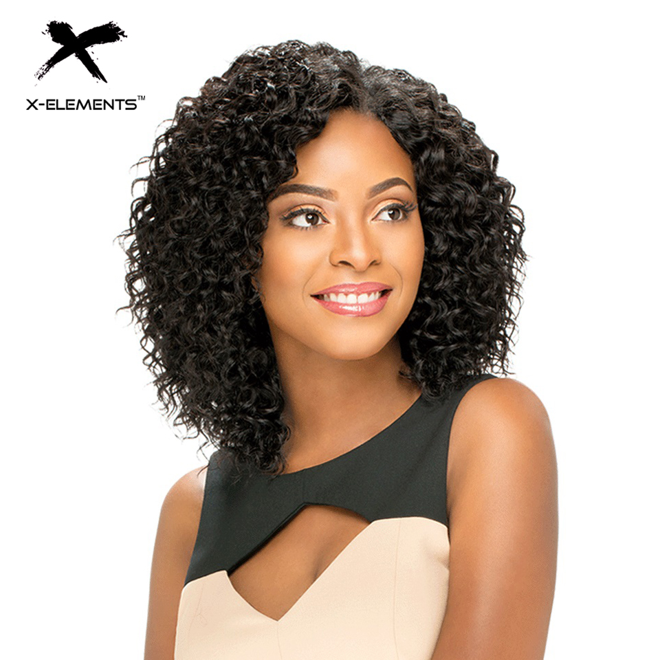 X Elements Brazilian Curly Short Human Hair Wigs With Baby Hair H ORA 6 75inch Non