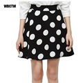 Polka Dot skirt 2017 new year summer Casual Polka Dots Printed Flared Tutu Circle Pleated Midi Skirts High Waist