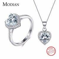 Modian Neue Design Feste 925 Sterling Silber Schmuck Sets Ring Halskette Hochzeit Natürlichen Kristall Anhänger Mode Kette Für Frauen