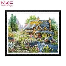 NKF Праздничная Вилла Набор для вышивки штампованные наборы напечатанные на холсте DMC крестиком домашний декор рукоделие узор ткань боль