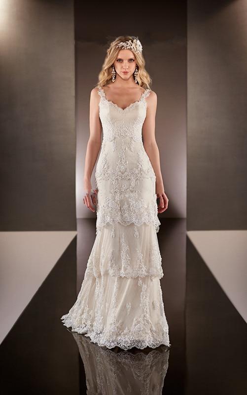 Robe De Mariage Vestido De Noiva praia Boho Beach Wedding Dress 2019 V neck vintage romantic