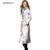 Otoño Nuevo Ocio Impresión Fina Delgada Caliente Larga Para Mujer Abrigos invierno 2016 Solapa de la Chaqueta de Las Mujeres Abrigo de Manga Larga de Poliéster de Gran tamaño