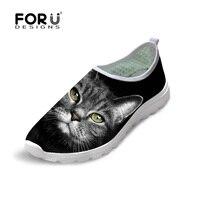 FORUDESIGNS 2017 Summer Women Mesh Flat Shoes Comfort Walk Female Slip On Footwear Black Cat Pattern