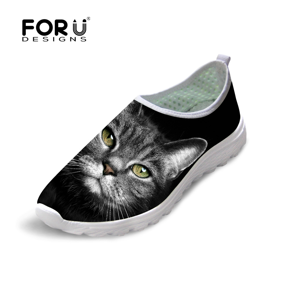 FORUDESIGNS 2018 Summer Women Mesh Flat Shoes Comfort Walk Female Slip-on Footwear Black Cat Pattern Breathable Lady Beach FlatsFORUDESIGNS 2018 Summer Women Mesh Flat Shoes Comfort Walk Female Slip-on Footwear Black Cat Pattern Breathable Lady Beach Flats