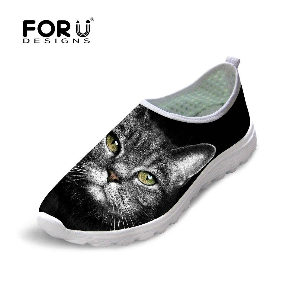 FORUDESIGNS 2018 Summer Women Mesh Flat Shoes Comfort Walk Female Slip-on Footwear Black Cat Pattern Breathable Lady Beach Flats