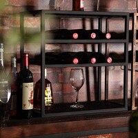 Кованого железа винный шкаф для Гостиная офис Конференц зал вина держатель полки для вина