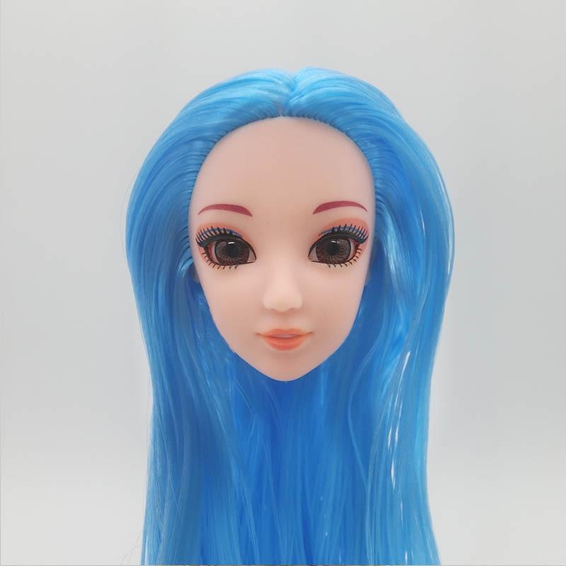 1:6 куклы голова с Синий, прямой Длинные волосы головы для Barbie кукла-принцесса головка для 1/6 BJD куклы Дом DIY куклы интимные аксессуары Игрушка