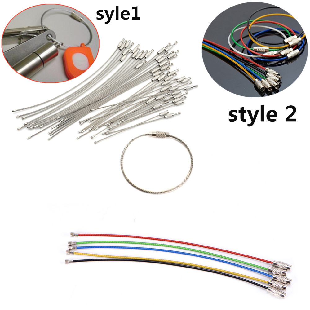 5pcs Or 10pcs Keychain Tag Rope Stainless Steel Wire Cable Loop Screw Lock Gadget Ring Key Keyring Circle Camp Hanging Tool