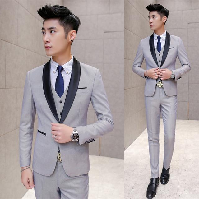 New Grey Black Shawl Lapel Wedding Suits For Men 3Pieces(Jacket+Pants+Vest+Tie) Trajes De Hombre Tuxedo Suit Men Blazer