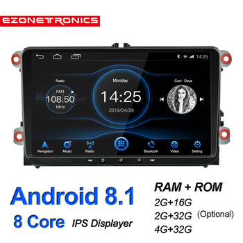Android 8.1 For for VW Passat Golf MK5 MK6 Jetta T5 EOS POLO Car Stereo Autoradio Octa Core 9inch IPS Screen Touch GPS Bluetooth image