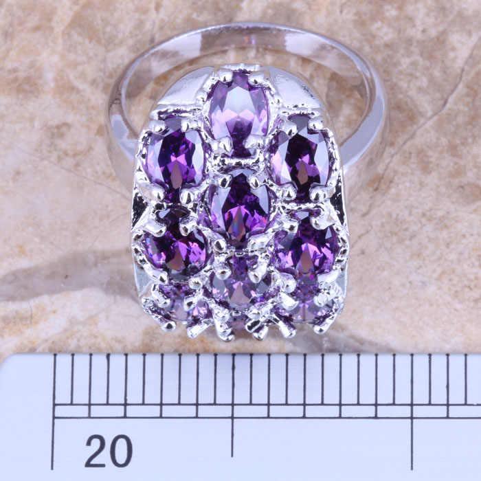 ที่ยอดเยี่ยมสีม่วงCubic Z Irconiaเงินประทับ925สตรีแหวนขนาด6/7/8/9 R1276