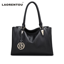 LAORENTOU Fashion Genuine Leather Bags For Women Cow Leather Top-Handle Bags Casual Solid Ladies Tote Bags Luxury Brand Bag N51