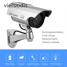1PCS Power Dummy Fake Camera Solar Waterproof Outdoor Security CCTV Surveillance Simulation Monitoring Bullet LED Light