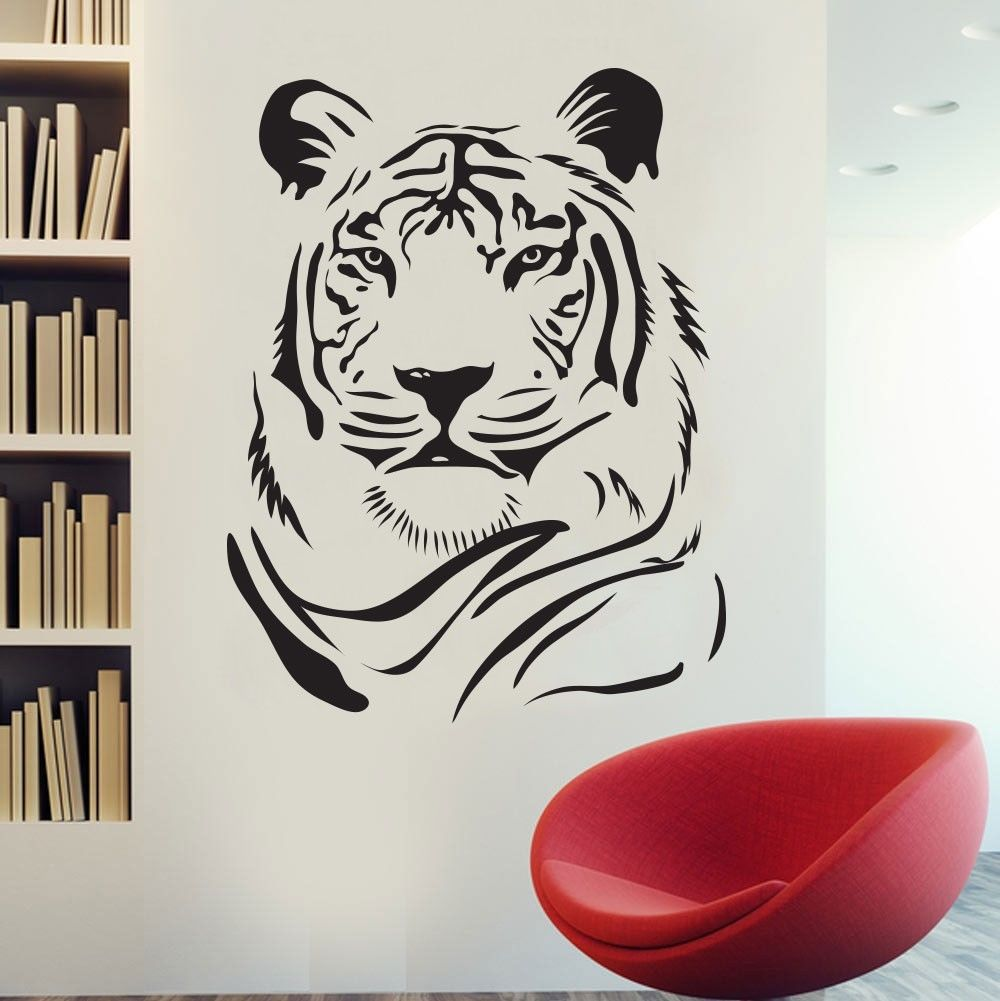 Tiger Wall Sticker Wild African Animal Tiger Head PVC Wall Art Sticker Bedroom Animal Wall Sticker Home Decorative Decoration