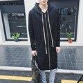 Hombres Negro Largo Hoodies Streetwear Nuevo 2017 Para Hombre Con Capucha Zip Up Cardigans Estilo Japonés Macho Sudadera Con Capucha Estilo Largo El Envío Libre