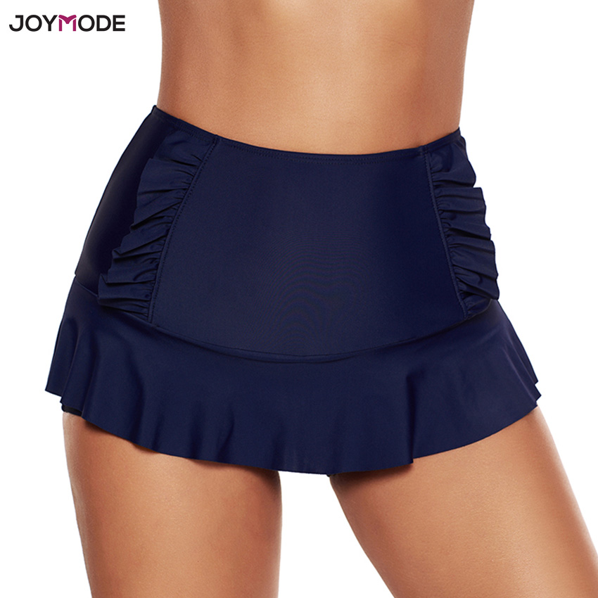 JOYMODE Beach Mini Skirt Bottom Girls Summer Swim Dress Lotus Leaf Skirtini High Waist Swim Skirt With Shorts Cheap Sexy Skirts