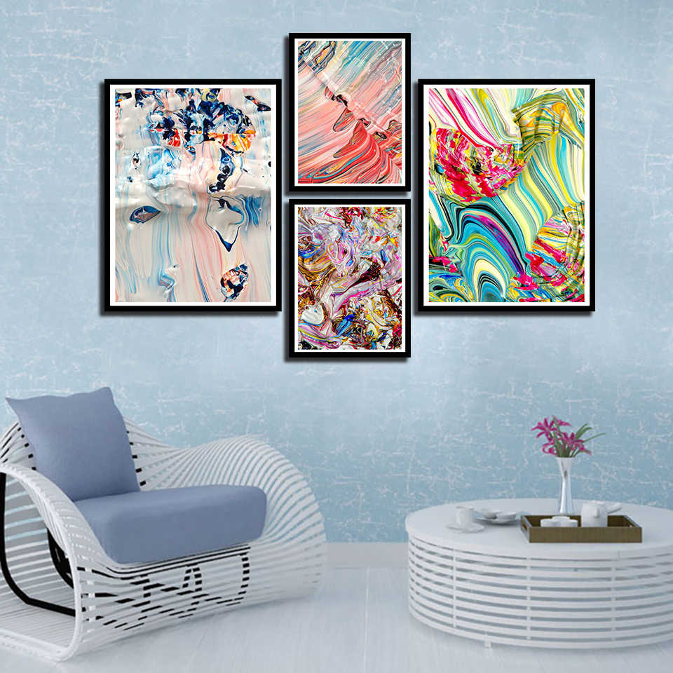 Nordic Watercolor Posters And Prints Abstract Pictures Wall Art Canvas Colorful Line Painting Fashion Bedroom Bedside Home Decor