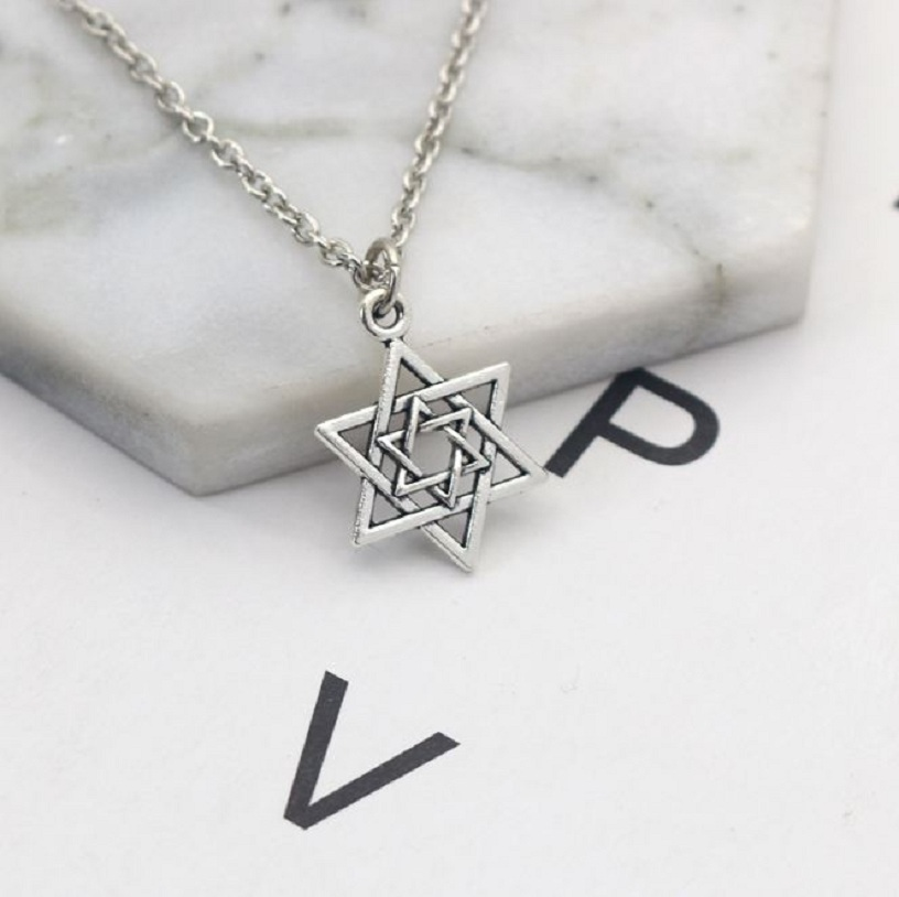 Vintage Steampunk Hexagram Pendant Necklace Inverted Triangle Star of David Pendant Clavicle Chain Necklaces Kolye Dropshipping|Pendant Necklaces| - AliExpress