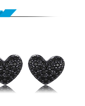JewelryPalace Heart Natural Black Spinel Ring 925 Sterling Silver Rings for Women Engagement Ring Silver 925 Gemstones Jewelry