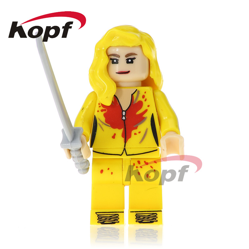 Single Sale Super Heroes Kill Bill Vol.1 Uma Thurman The Bride Bricks Action Building Blocks Education Children Gift Toys KL074 single sale super heroes red yellow deadpool duck the bride terminator indiana jones building blocks children gift toys kf928