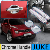 For Nissan JUKE 2010 2016 F15 Chrome Door Handle Covers Trim Set of 2Door Infiniti Esq Accessories Stickers Car Styling 2013