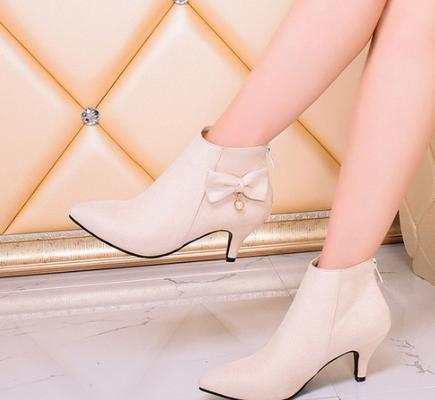 Noeud talons aiguilles fermeture éclair arrière bottes nues dames chaussures décontracté bottes courtes.