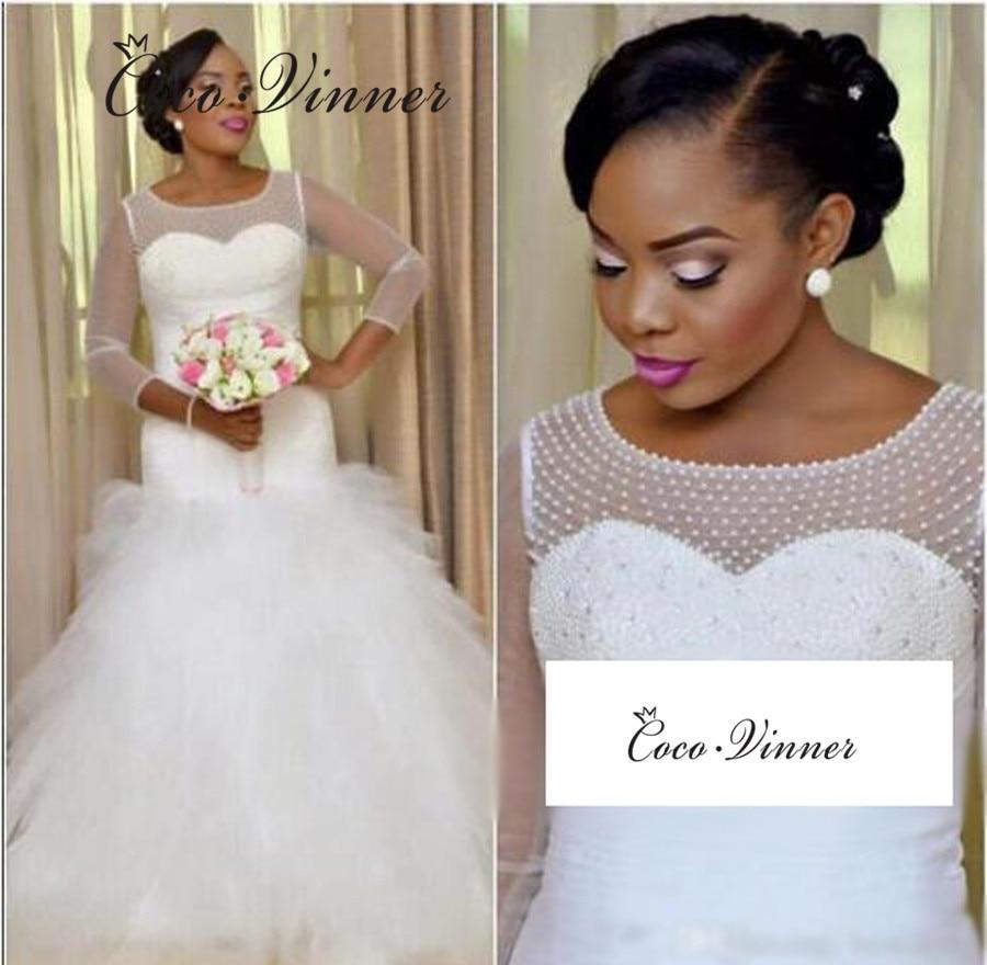 3/4 Sleeves Pure White African Mermaid Wedding Dresses 2019 Pearls Beaded Pleat Tassel Ruffles Custom Made Wedding Dress W0467