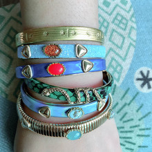snake Leather Bracelets Copper Tiger printing Bangles Woman Geometric Open Gradient Manual Fashion jewelry wholesale