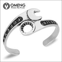 Omeng 2016 nouvelle hommes de charme clé titanium manchette bracelets classique motif incurvé outils bracelet brassard anneaux bijoux osz006