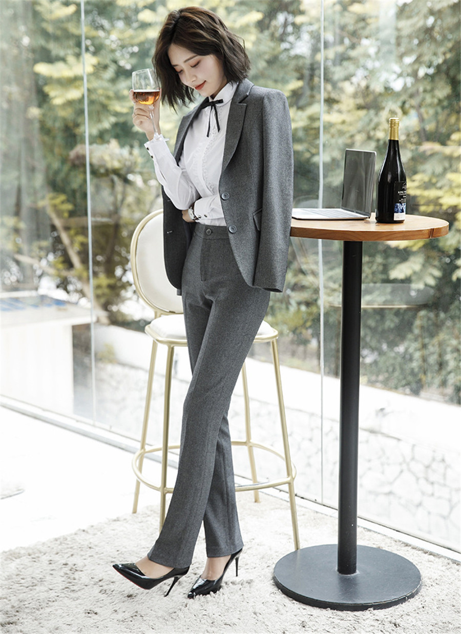 Work Fashion Pant Suits 2 Piece Set for Women singel Breasted solid color Blazer Jacket&Trouser Office Lady Suit Feminino 15