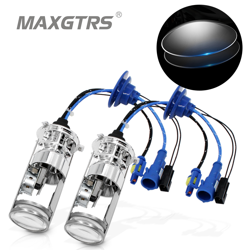 2x 55W H4 LHD Bi-Xenon Bulbs Lossless HID Bulb Light Lamp Hi/Lo Beam Headlight With Double Mini Projector Lens 4300K 5500K 6000K