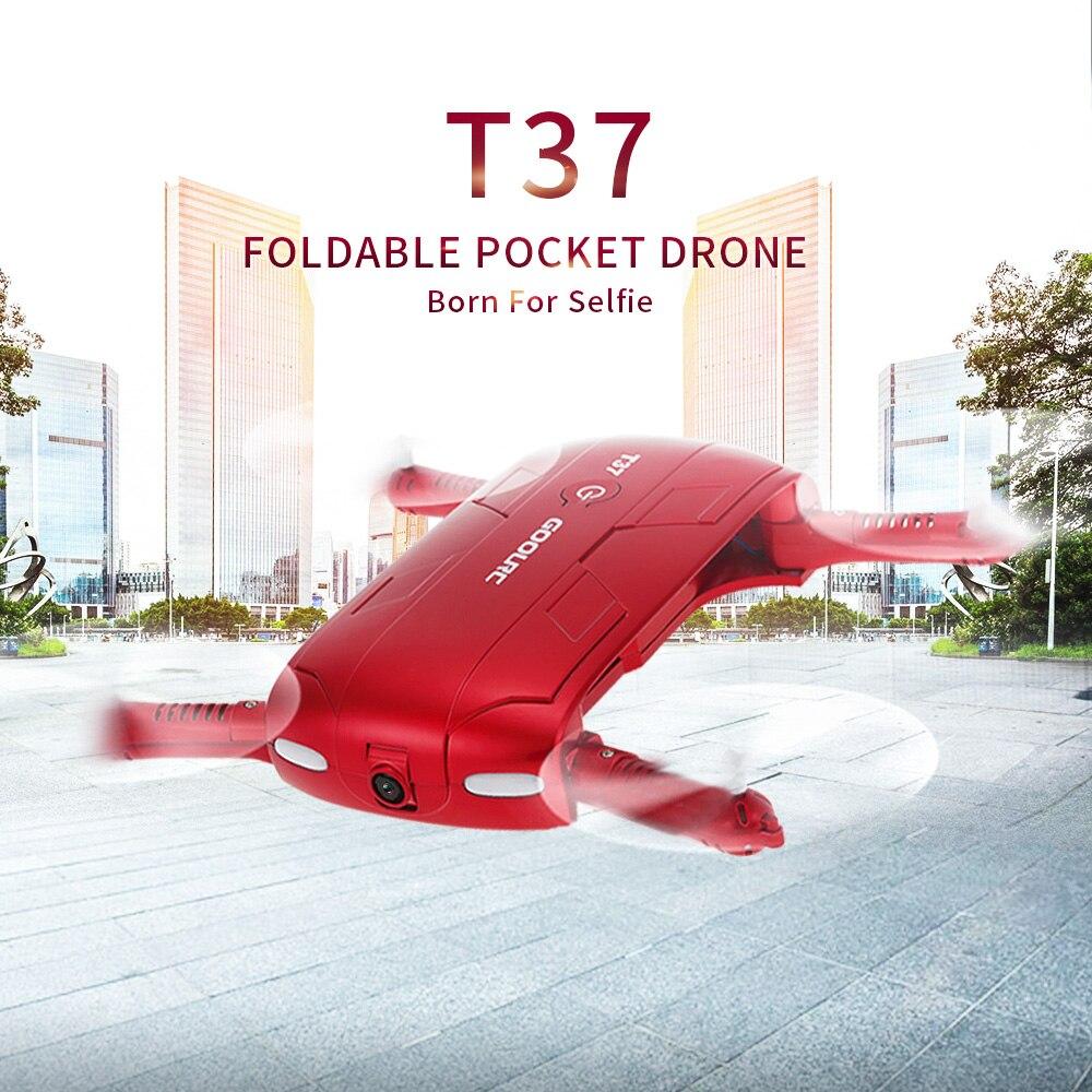 цена на GOOLRC T37 Wifi FPV HD Camera G-sensor Altitude Hold Foldable Mini Selfie RC Drone Quadcopter VS H37 Drones