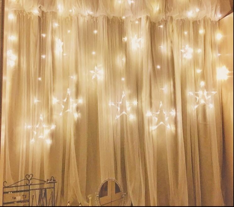 220V Curtain Star string lights christmas new year decoration ...